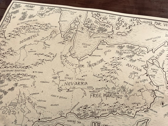 Dragon Age map of Thedas: Aged, Handmade, Hand drawn, Authentic Gift