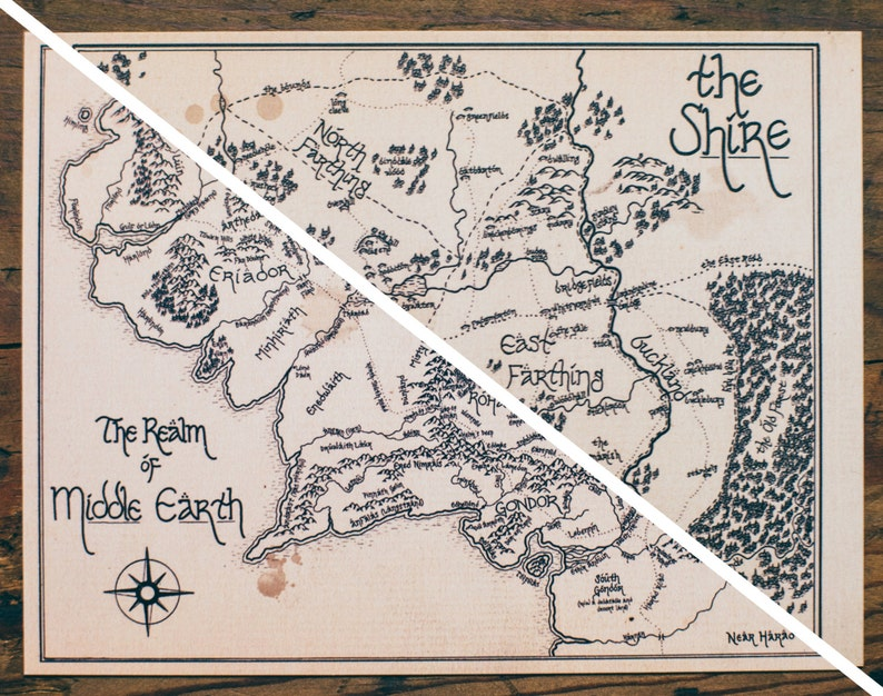 Map of Middle Earth AND the Shire: Aged Handmade Hand drawn | Etsy