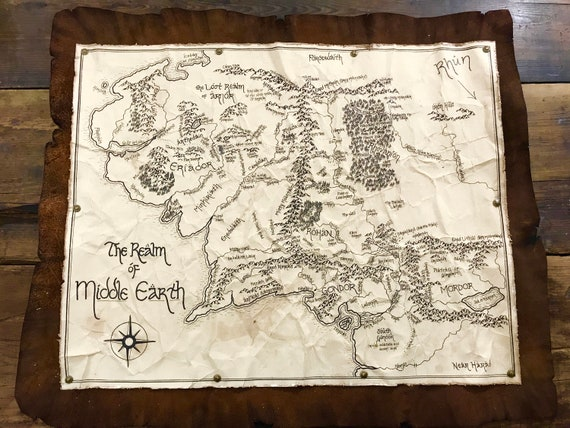 Leather backed aged map of: Middle Earth, Westeros, The Shire, Narnia, or  more!