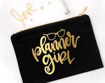 Planner Girl Zip Pouch // Planner Pencil and Pen Bag // Planner Bag