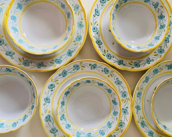 French vintage lot of 11 plates flat 1900 ceramic Badonviller motifs bird of paradise