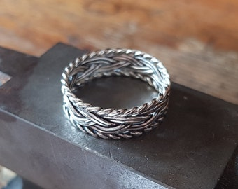 Viking ring braided sterling silver wire celtic medieval handmade