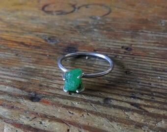 Raw emerald ring sterling silver