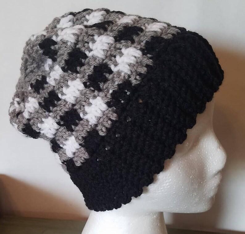 7ad55078a4e Black white grey plaid beanie plaid winter hat etsy jpg 794x758 Black white  and gray winter