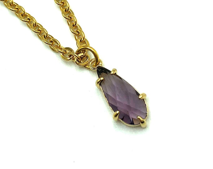 CORA: tiny glass purple drop necklace