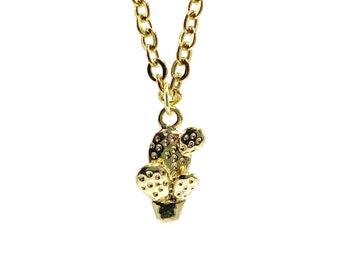 MINI CACTUS: delicate tiny gold cactus necklace