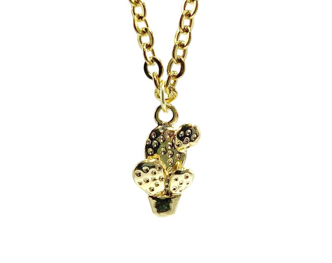 MINI CACTUS: delicate tiny gold cactus necklace