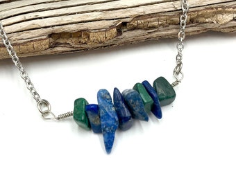 BUDDY PROJECT: lapis lazuli and malachite crystal necklace