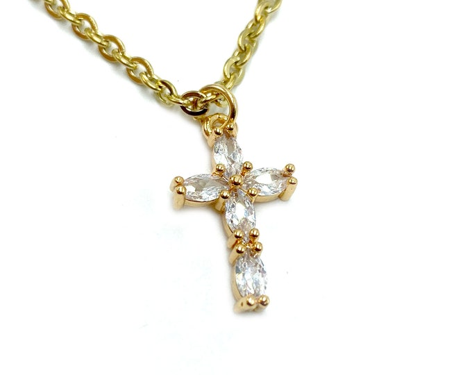 MARIANNE: dainty gold cubic zirconia cross necklace