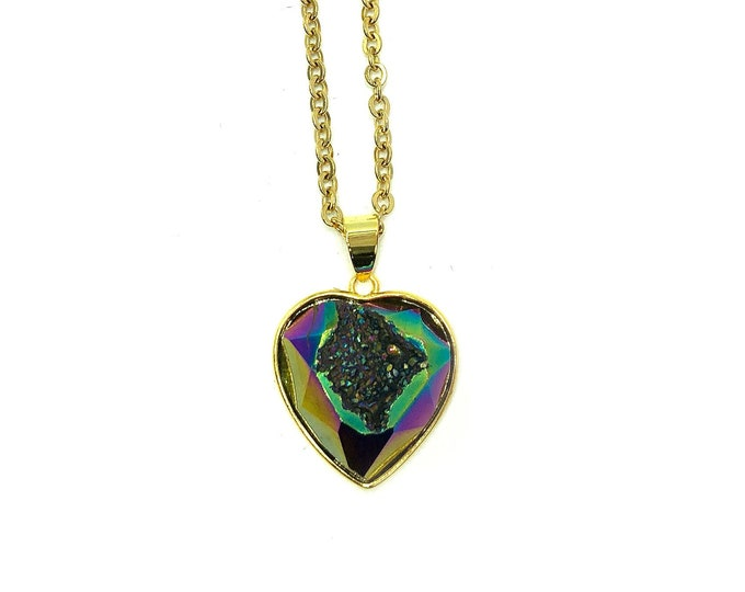 AMOR: titanium druzy heart necklace