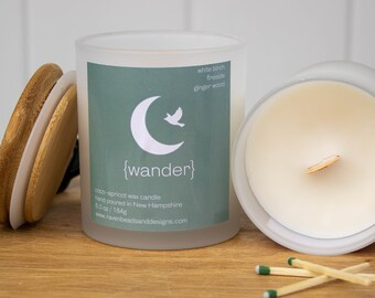 WANDER: white birch, fireside, and ginger wood scented wood wick candle