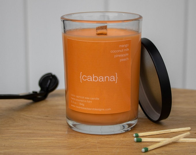 CABANA: mango and coconut milk scented wood wick candle