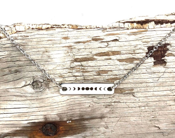 MOON PHASES: stainless steel bar necklace