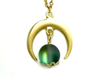 XENIA: gold crescent moon and aura bead necklace