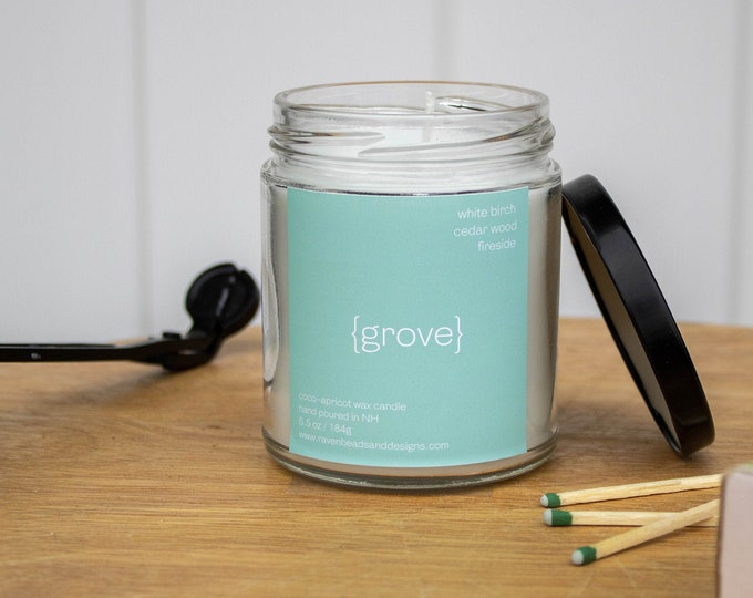 GROVE: white birch and cedar wood candle