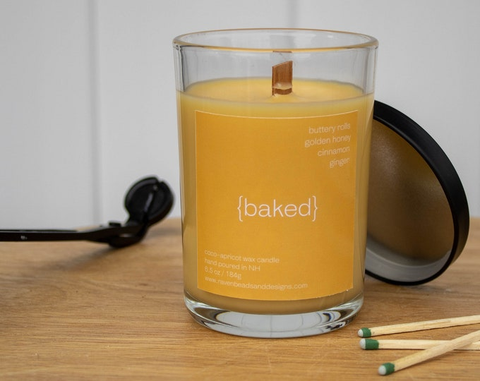 BAKED: buttery rolls, honey, cinnamon, and ginger scented wood wick candle