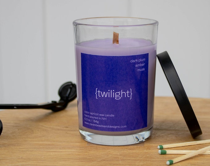 TWILIGHT: dark plum, amber, and musk scented wood wick candle