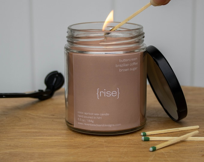 RISE: buttercream, brazilian coffee, and brown sugar scented candle