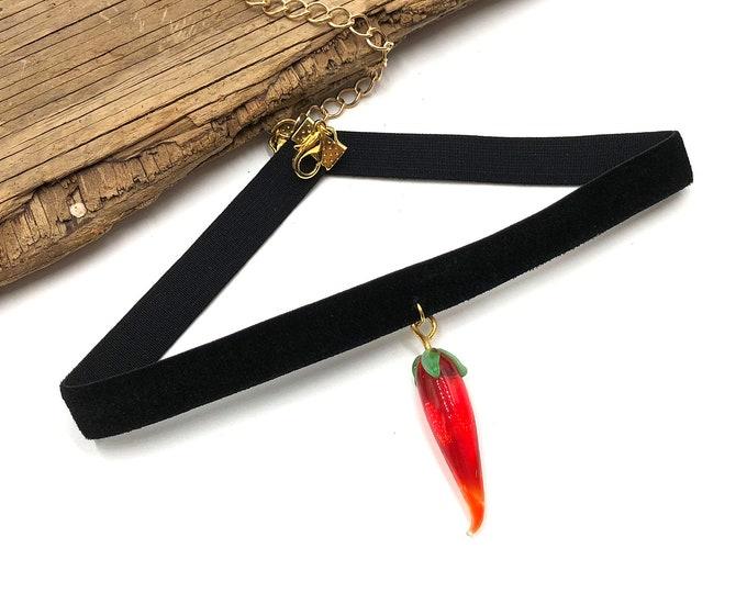 FUEGO: glass chili pepper velvet elastic choker