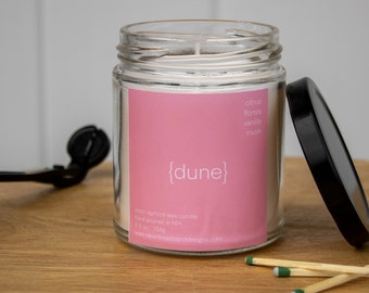 DUNE: beachy florals, bright citrus, and spicy vanilla scented candle