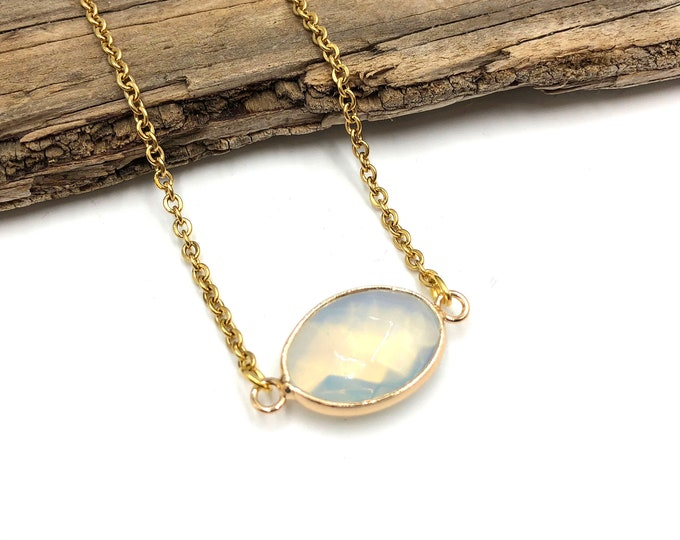 LEILAH: gold opalite necklace
