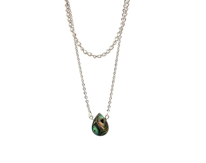 JILLIAN: double chain abalone necklace