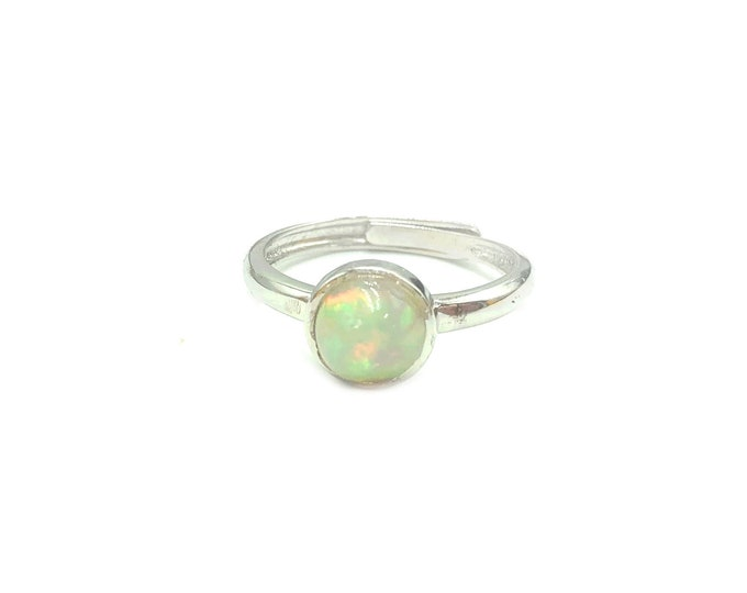 ETHIOPIAN FIRE OPAL: 925 sterling silver adjustable ring