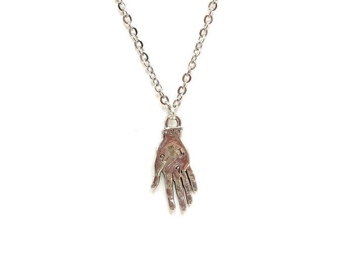 TAROT: pewter tarot hand necklace