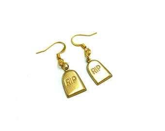 RIP: brass tombstone earrings