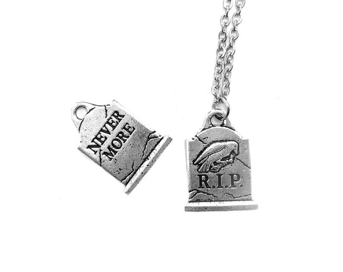 NEVERMORE: tombstone necklace