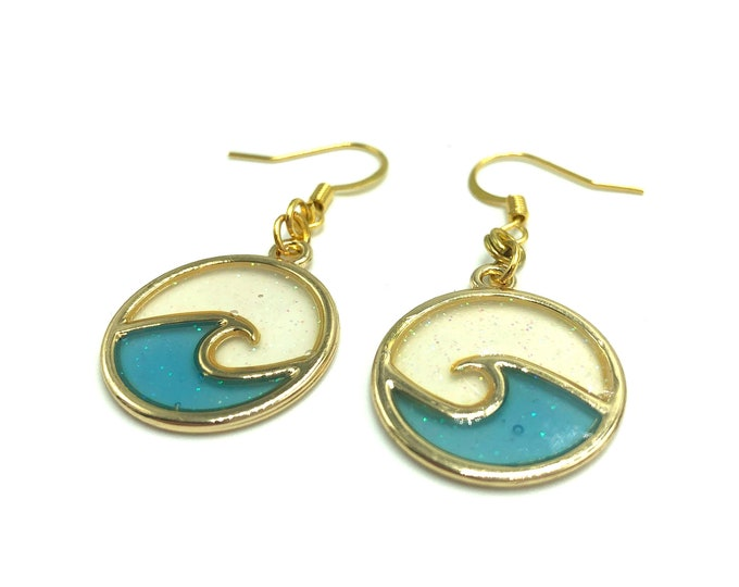 WAVEY: gold and blue resin earrings