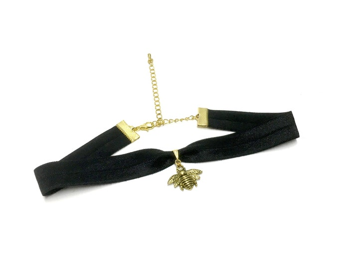 GOLDEN BEE: black elastic bee choker