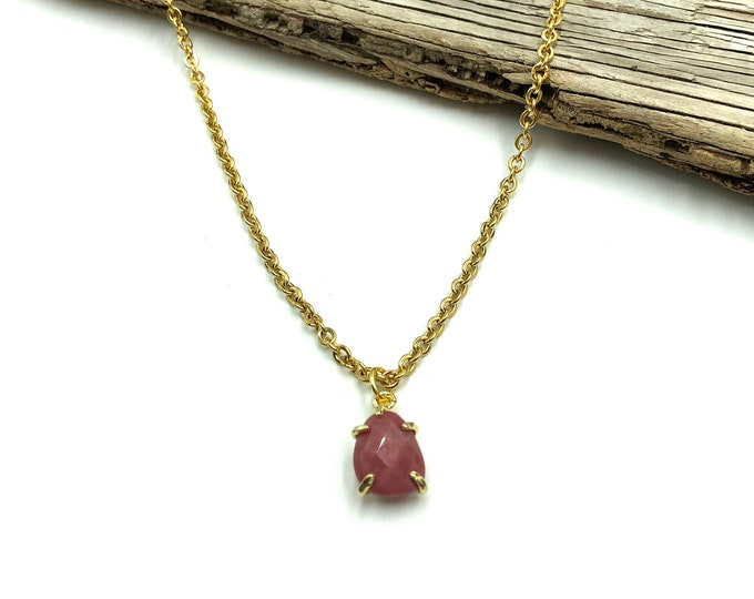 LANEY: simulated stone drop necklace