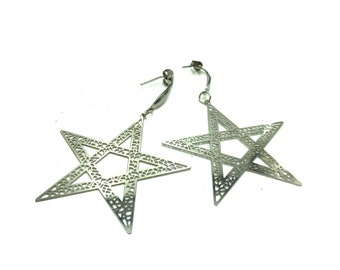 SECRET SOCIETY: stainless steel drop pentacle star earrings