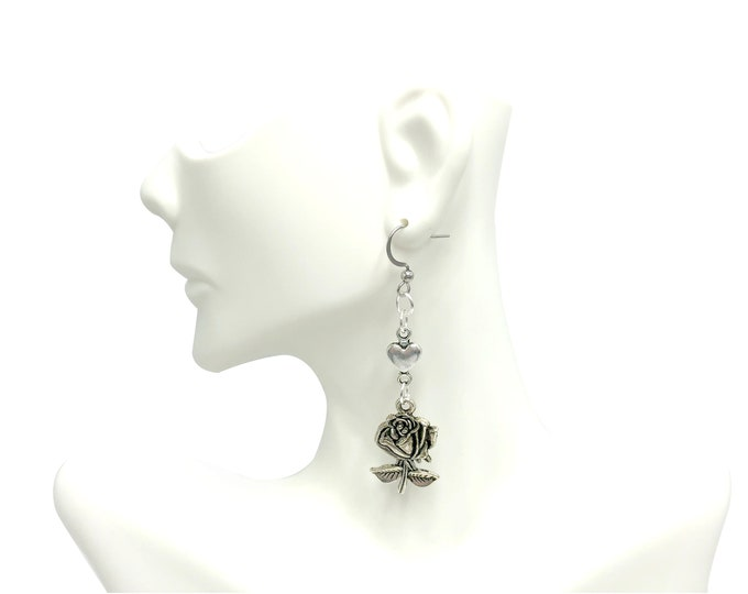 BEAUTY: heart and rose drop earrings