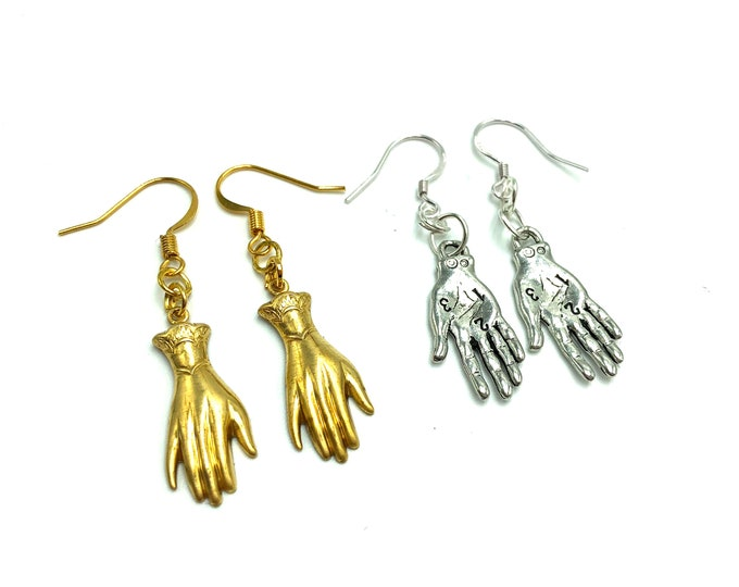 PALMISTRY: hand earrings in multiple styles