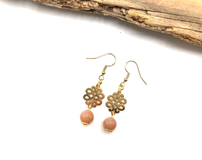 CLAUDETTE: gold tone sunstone drop earrings