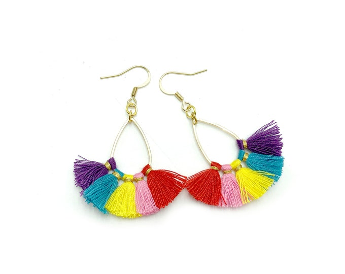 FIESTA: rainbow tassel earrings
