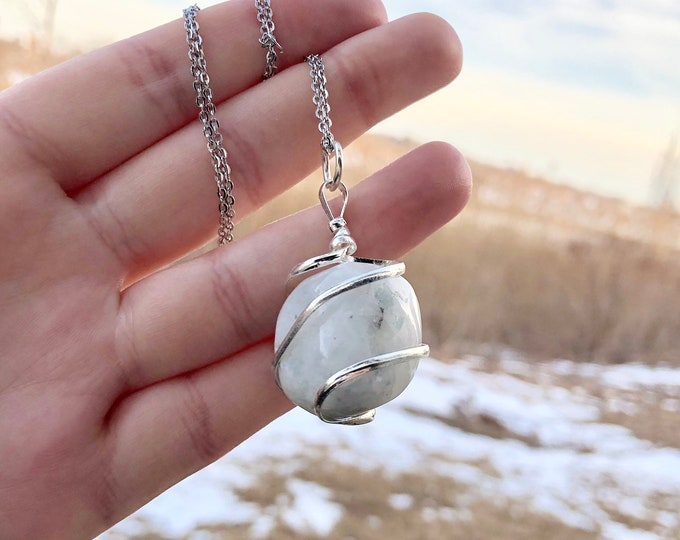 RAINBOW MOONSTONE: silver wire wrapped crystal necklace