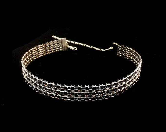 DIANA: faux diamond ribbon choker