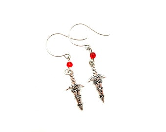 SWORD: detailed sword earrings with red accent beads