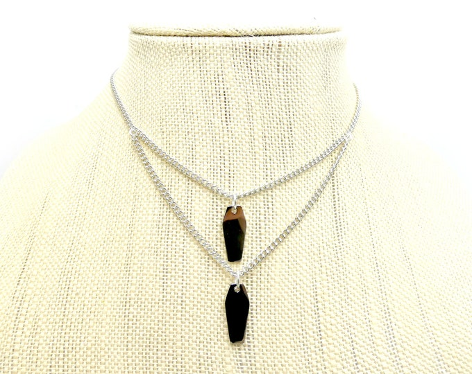 COFFIN: double draped coffin necklace