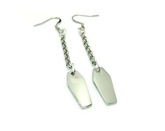 COFFIN: dangly stainless steel coffin earrings