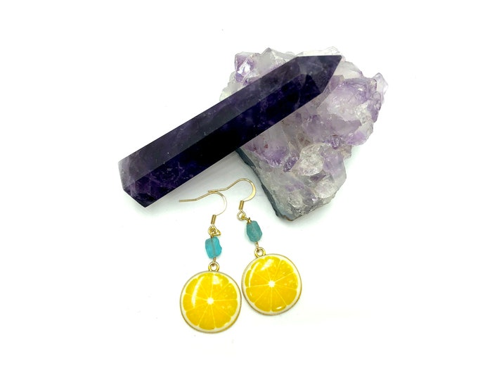 LEMON: lemon apatite drop earrings