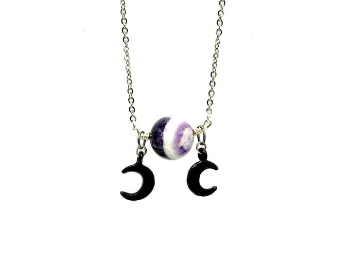 EUROPA: triple moon amethyst necklace