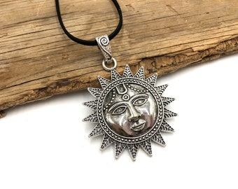 SUNNY DISPOSITION: large unisex faux suede cord sun necklace