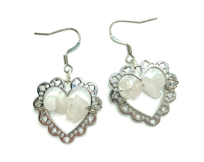 CARLOTTA: rose quartz heart earrings