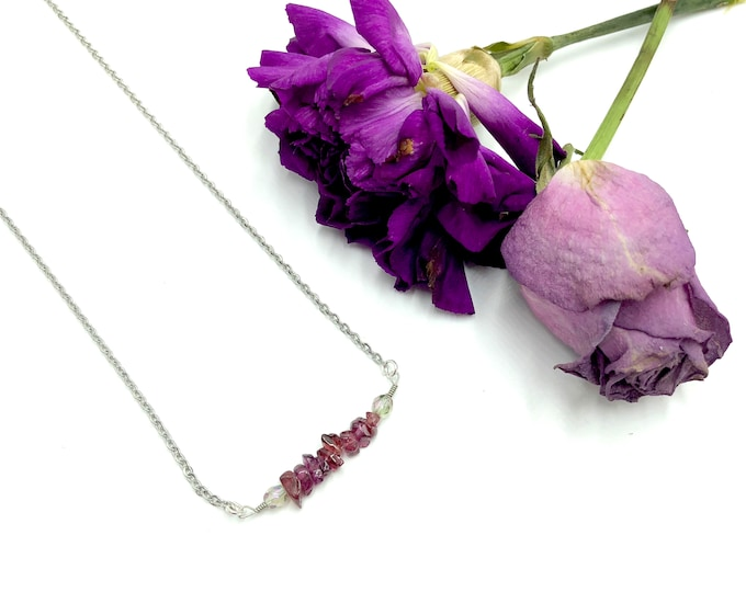 ESMERELDA: raw pink ruby crystal necklace