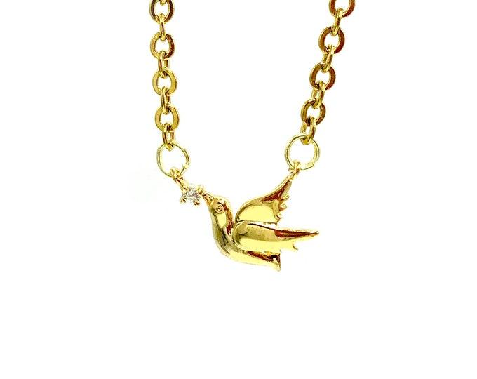 WOODSTOCK: dainty dove necklace