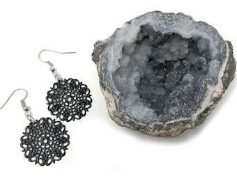 WINONA: black and silver filagree drop earrings